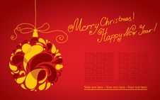 Free Vector Decorative Christmas Background With Ball Royalty Free Stock Images - 21911619