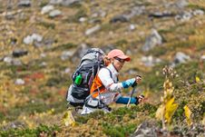 Free Woman Trekking In Mountains Stock Images - 21911764