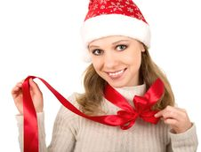 Free Christmas Girl With Red Bow Stock Photography - 21939072
