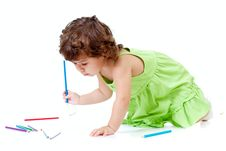 Free Little Girl With Blue Pencil Stock Photos - 21939823