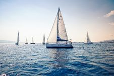 Free Sailing Ship Yachts With White Sails Stock Photos - 21940553