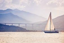 Alone Sailing Ship Yacht Stock Image