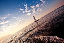 Free Alone Sailing Ship Yacht Stock Photography - 21940582