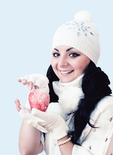 Free Girl With Apple . Royalty Free Stock Images - 21940949