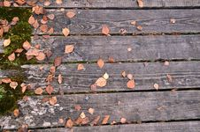 Free Wooden Bridge With Autumn Leaves Royalty Free Stock Photos - 21942818
