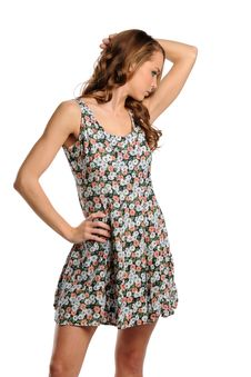 Free Young Woman Wearing A Summer Dress Stock Photography - 21945392