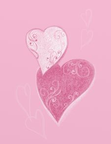 Free Two Hearts On A Pink Background Stock Photography - 21948242