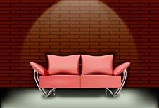 Sofa Living Room And Brick Walls Stock Image