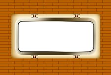 White Board In The Wall Brick Royalty Free Stock Image