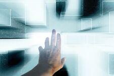 Free Hand Pressing Virtual Keyboard Royalty Free Stock Photo - 21954425