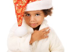 Free Lovely Baby In Christmas Hat And Fur Royalty Free Stock Image - 21956976