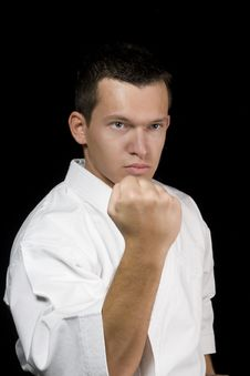 Karate Young Male Fighter Stock Images
