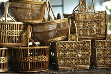 Free Basket Wicker Is Thai Handmade. Stock Images - 21960814