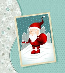 Free Vintage X-mas Card With Santa Claus Stock Images - 21961244