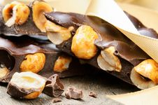 Free Crushed Dark Chocolate With Hazelnuts Stock Images - 21962824