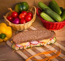 Free Sandwich On Wooden Table Stock Image - 21964211