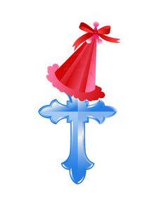Free Christmas Cap On Cross Royalty Free Stock Image - 21968706