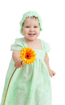 Cute Little Girl With Flower Gift On White Royalty Free Stock Photos