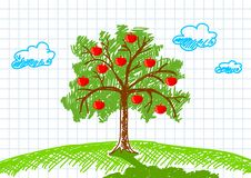 Drawing Of Apple-tree Royalty Free Stock Images