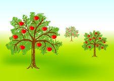 Three Apple-trees Royalty Free Stock Photography