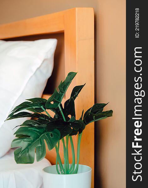 Artificial plant decoration in bedroom