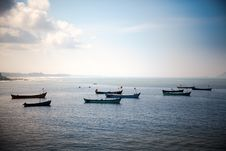 Free Boats In Bule Ocean Stock Image - 21984471