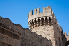 Free Ancient Castle Tower. Greece. Rhodes. Royalty Free Stock Photography - 21984627