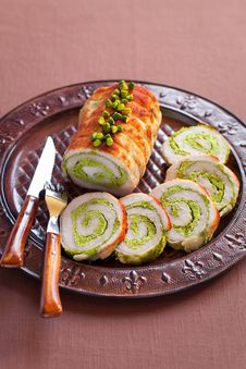 Free Roasted Pork Roulade With Pistachio Royalty Free Stock Image - 21987316