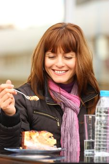 Free Woman With Cake Outdoor Stock Images - 21987734