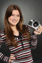 Free Woman Taking Photo With Vintage Camera Stock Images - 21991774