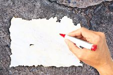 Free Writing Hand At Burn Paper Stock Images - 21992974
