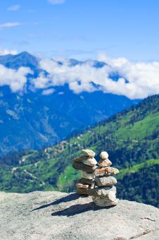 Free Two Stones Pyramid At Mountains Royalty Free Stock Photo - 21994005