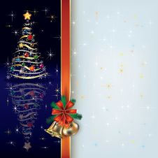 Christmas Greeting With Tree And Gift Ribbon Stock Photo