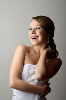 Free Beautiful Girl In Evening Dress Laughs Stock Photography - 21997602