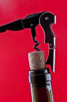 Free Bottle With A Cork And Corkscrew Stock Photography - 21998372