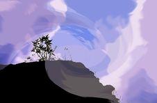 Free Fantasy Sky Mountain Silhouette Stock Photography - 220642