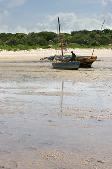 Two Stranded Fishing Boats Stock Image