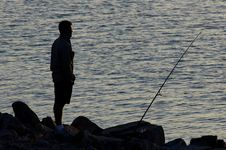 Free Fishing Silhouette Royalty Free Stock Photography - 225827