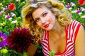 Free Beautiful Girl Among Dahlia Fl Stock Image - 2207081