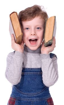 Free The Boy With Books Smiles Royalty Free Stock Photo - 2200215