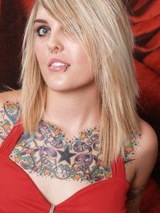 Free Tattooed Blonde Model Stock Image - 2202391