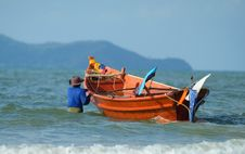 Free Fisherman Taking His Boat To S Royalty Free Stock Photos - 2202998