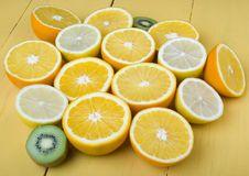 Orange & Lemon & Kiwi Stock Images