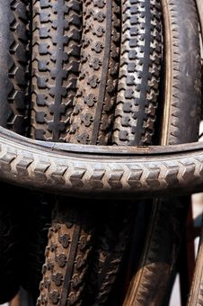 Old Bike Tyre Stock Images