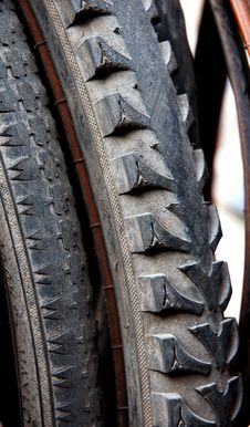 Old Bike Tyre Stock Image