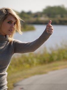 Free Blonde Hitch Hiker Stock Image - 2205491