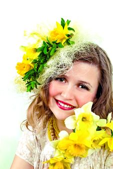 Free Smiling Girl With Narcissus Stock Photography - 2207112