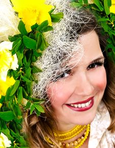 Free Smiling Girl With Narcissus Royalty Free Stock Photography - 2207157