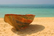 Old Thrown Boat On A Beach Stock Photography