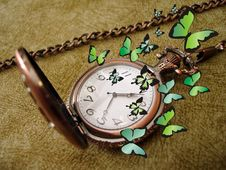 Free Old Clock With Butterflies Royalty Free Stock Photos - 2208688